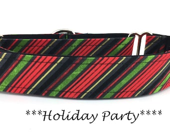 Martingale Dog Collar, Holiday Party Stripe Dog Collar, Holiday Stripe Martingale, Christmas Martingale, Holiday Party