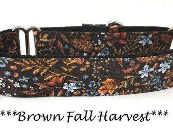 Martingale Dog Collar, Brown Fall Dog Collar, Fall Martingale Dog Collar, Brown and Blue Fall Dog Collar, Brown Fall Harvest