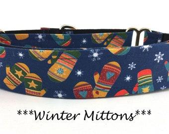 Martingale Dog Collar, Winter Mitten Dog Collar, Winter Mitten Martingale, Christmas Dog Collar, Christmas Martingale, Winter Mittens