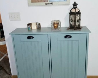 Double Trash Bin, Tilt Out Trash Can Cabinet, Wooden Trash Bin, Plastic Barrels Included