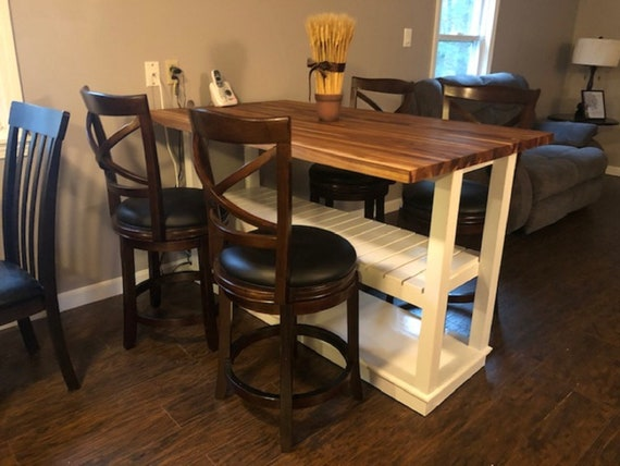 Kitchen Island With Seating Storage Butcher Block Table Etsy