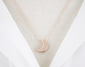 Gold / Silver / Rose Gold Crescent Moon Pendant Necklace Bridesmaid Gift Dainty Necklace Simple and Modern Necklace.Birthday Gift