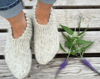 Icelandic wool slippers, authentic Icelandic product. Warm socks, cozy feet. Pale grey, hand knit in Iceland. Made to order