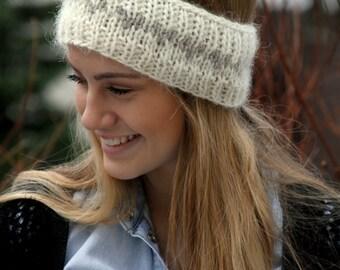 Bandeau en laine islandaise, tricoté d'oreille plus chaud, chaud bandeau, confortable, blanc, coeurs de flocons d'avoine, taille moyenne de Dame, fabriqué sur commande