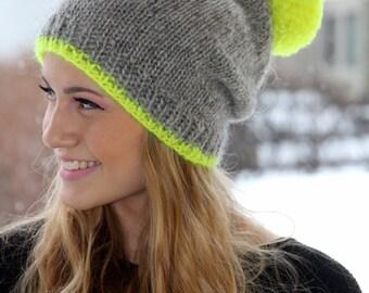 0cbcf2269a1 Icelandic wool hat Oatmeal Moss Green pom pom Cozy Knit