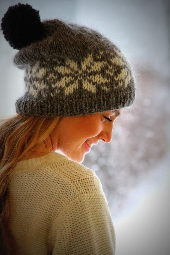 726f2ea47f8 Icelandic wool hat Grey White Black pom pom Cozy Knit