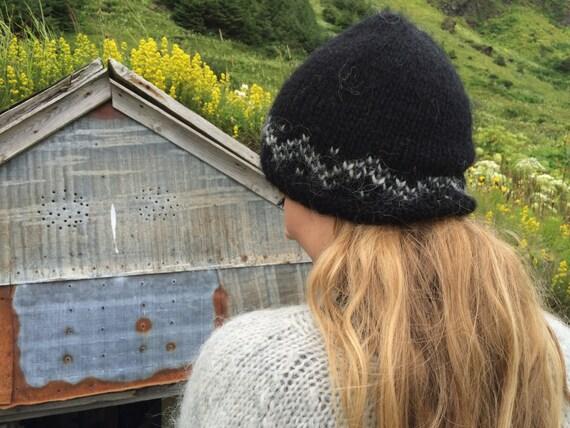 Isländischer Wolle Hut schwarz leicht grau Muster warme | Etsy
