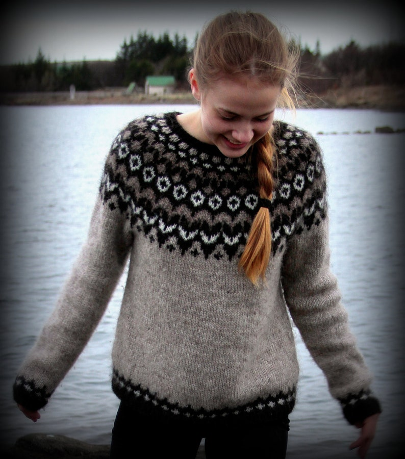 d7840c04984 Icelandic Sweater, Lopapeysa, Handmade, 100 % pure Wool, Custom made,  Oatmeal, Black, White, Warm, Cozy, Knit