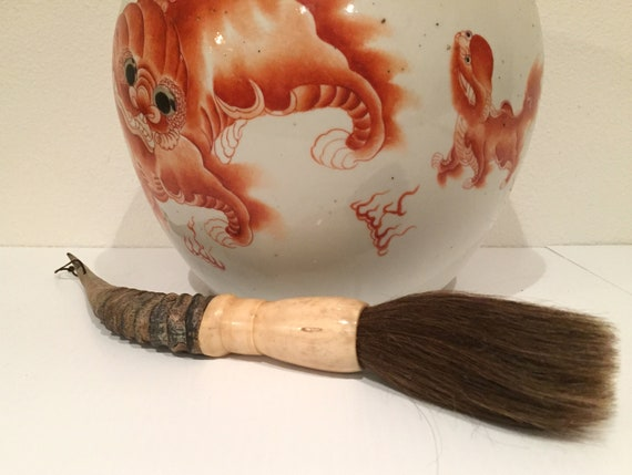 2 pieces bone Vintage Chinese Calligraphy Brushes w// GOAT HORN horse hair