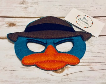 Perry Platypus Mask,Pretend Play Masks, Handmade Mask, Dress Up Mask, Party Favor, Halloween Mask, Christmas Stocking