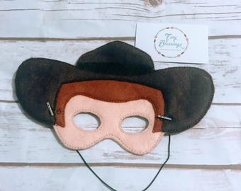Cowboy Woody Inspired Mask,Pretend Play Masks, Handmade Mask, Dress Up Mask, Party Favor, Halloween Mask, Christmas Stocking