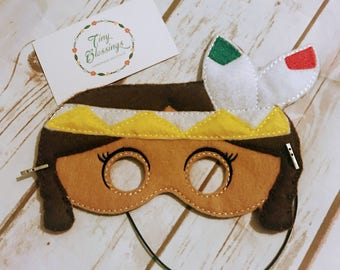 Indian Girl Mask,Pretend Play Masks, Handmade Mask, Dress Up Mask, Party Favor, Halloween Mask, Christmas Stocking