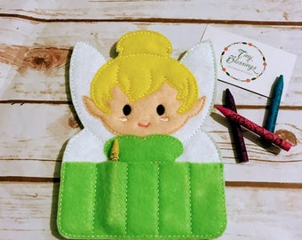 Tink inspired Crayon Holder, Handmade Crayon Carrier, Crayola, Coloring, Childrens, Creative Toy, Christmas, Art, Party Favor