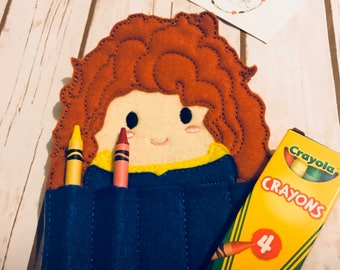 Princess Brave  inspired Crayon Holder, Handmade Crayon Carrier, Crayola, Coloring, Childrens, Creative Toy, Christmas, Art, Party Favor