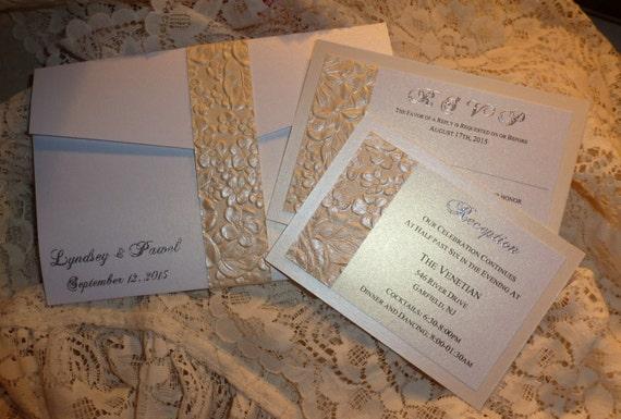Spitze Ivory Hochzeitseinladung Einladung Termography Drucken Etsy
