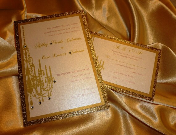 Chandelier Wedding Invitations: Gold Chandelier Wedding Invitation Chandelier