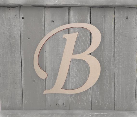 Front Door Letter Large Unfinished Cursive Wooden Letter | Etsy