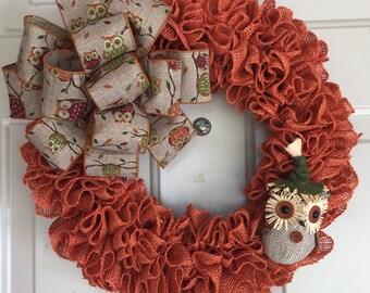 Fall Burlap Wreath, Owl Burlap Wreath, Autumn Wreath, Owl, Orange Burlap, Wreath, Bird