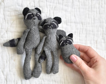 Miniature Racoon Family Sewing Pattern Digital Download 1:12 scale dollhouse size doll Baby mama brother sister softie stuffed animal