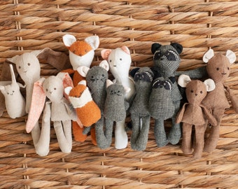 Miniature Woodland Animal Pattern Collection, Digital Download 1:12 scale dollhouse size doll Baby mama brother sister softie stuffed animal