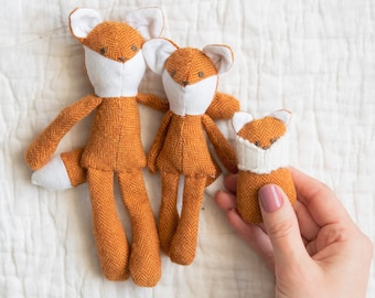 Miniature Fox Family Sewing Pattern Digital Download | 1:12 scale dollhouse size doll | Baby mama brother sister softie stuffed animal toy