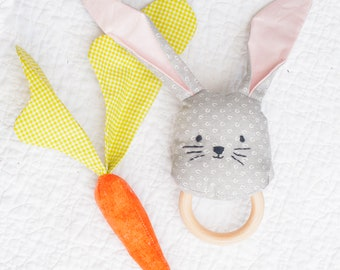 Baby first Easter, bunny and Carrot Rattle, baby shower gift sewing pattern, rabbit, baby toys, sewing for baby, baby gift, baby toy