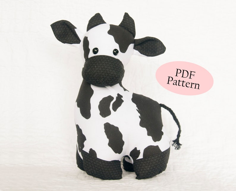 Carlton the Cow Sewing Pattern Soft Toy pdf digital download image 0