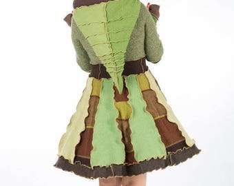 Green and brown short ladies sweater coat, short hood pixie dress, Elf dress ,Size Small     SOLD
