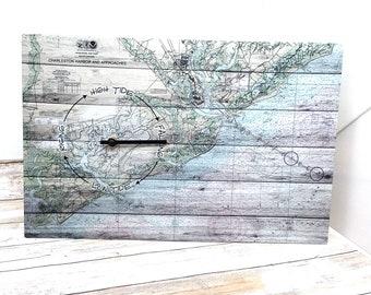 Charleston Harbor South Carolina Tide Clock Nautical Wall Clock Nautical Gift Nautical Decor Coastal Gift Coastal