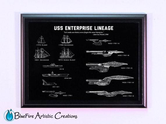 Star trek art enterprise lineage engraved blueprint plaque etsy image 0 malvernweather Gallery