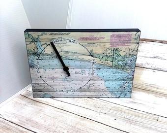 "Coastal Tide Clock 8"" x 5 1/2"" Tide Clock Nautical Wall Clock Nautical Gift Nautical Decor Coastal Gift Coastal Wall Art"