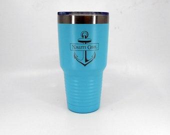 Nautical Tumbler Coastal Gift Womens Gift Nautical Gift Stainless Steel Tumbler Cup