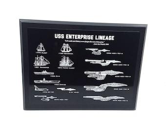 Star Trek Wall Hanging Wall Art Enterprise Star Ship Lineage Engraved Blueprint Plaque Historic Ships