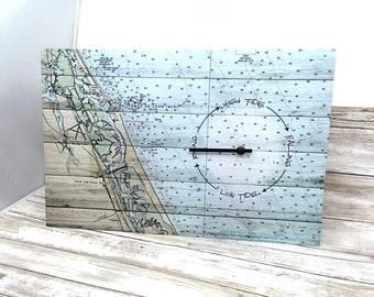 Tide Clock Custom Tide Clock Nautical Wall Clock Nautical Decor Coastal Gift Wall Art