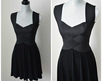 f3d21e5f60d Vintage 90s Pure Black Bandage Dress with Short Flared Skirt