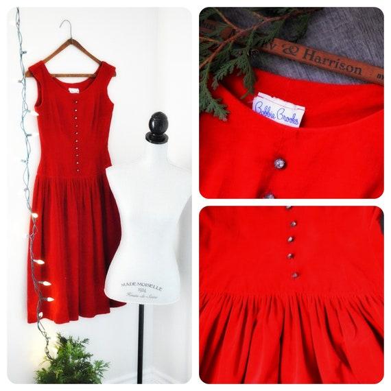 Vintage 50s Velvet Crimson Red Circle Skirt, Full
