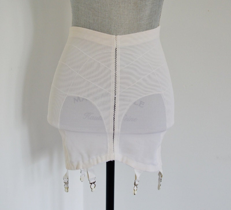 Lot Of 2 Two Vintage White Open Bottom Panty Girdles With
