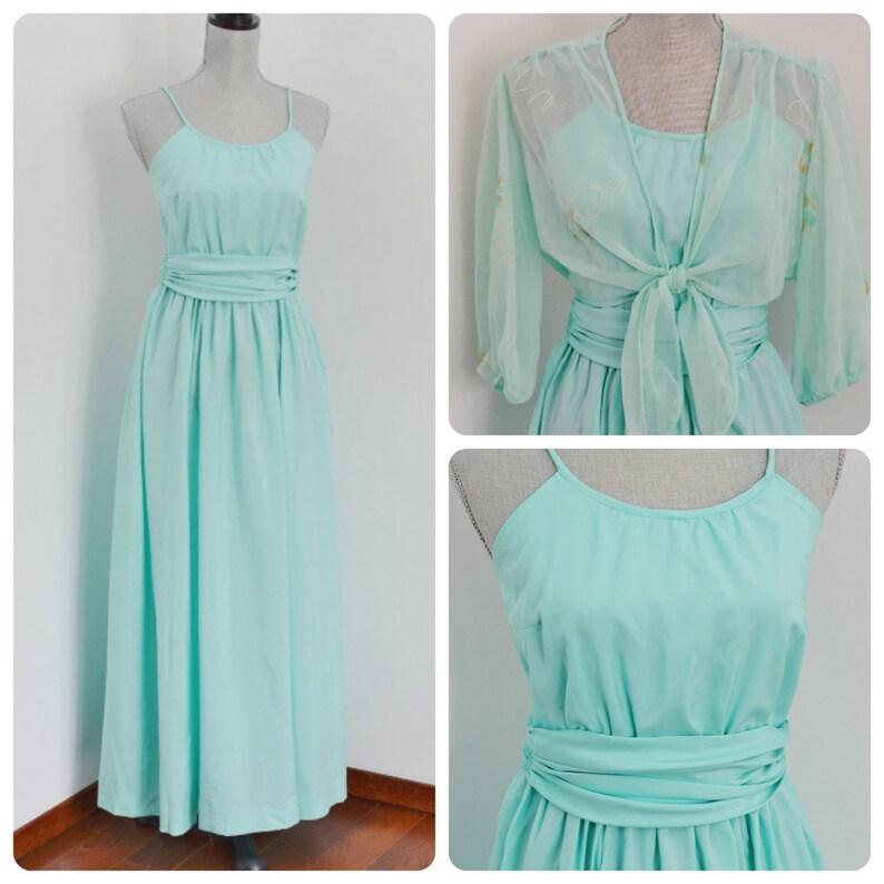 b5fa4c1bc61 Vintage 70s Mint Green Summer Maxi Dress with Sheer Foral Bolero,  Sphaghetti Straps - Bridesmaid, Bridal, Wedding - Size Extra Small-Small