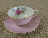 Paragon Pink Demitasse Tea Cup and Saucer Circa 1938 - 1952 Double Warrant Back Stamp