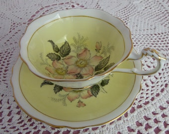 Vintage Paragon Tea Cup and Saucer Yellow With Pink Wild Roses  Circa 1940s