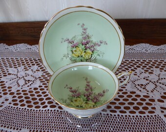Vintage Paragon Teacup and Saucer Pastel Green with Yellow Tea Roses and Flowers Circa 1950s