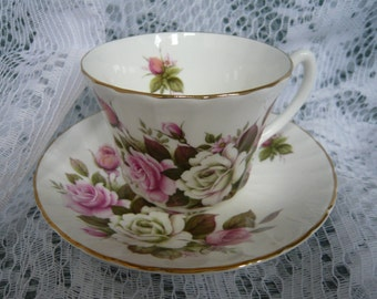 Vintage Royal Kendal Cup and Saucer Pink and White Roses  Made in England Fine  Bone China