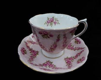 Royal Albert Bone China Tea Cup and Saucer PINK BROCADE