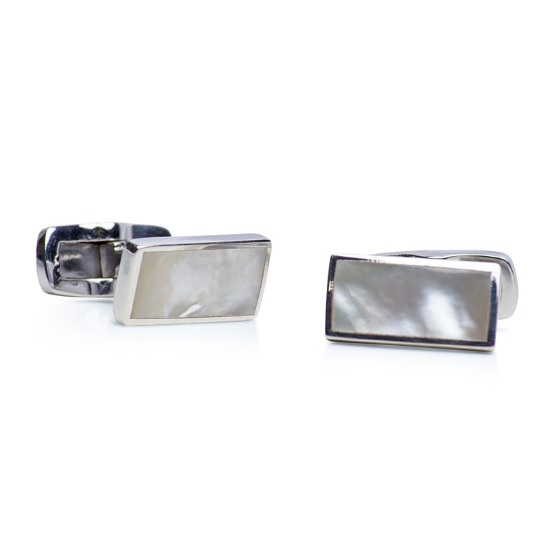 Classic White Mother of Pearl Rhodium Plated Sterling Silver Cufflinks
