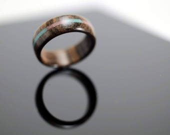 Wooden ring with stone inlay