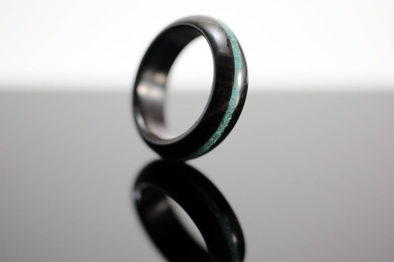 Blackwood and turquoise wooden ring image 0