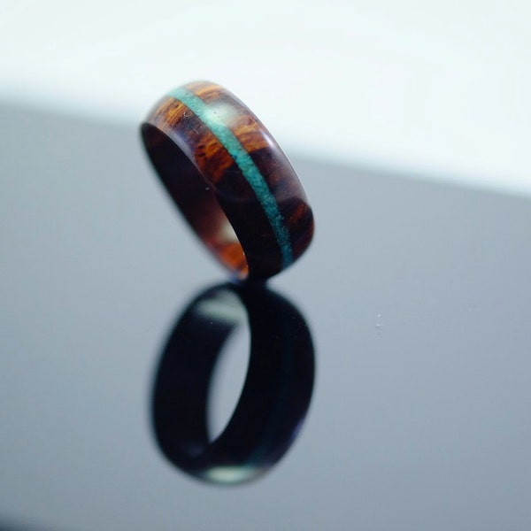 Cocobolo and turquoise wooden ring image 1