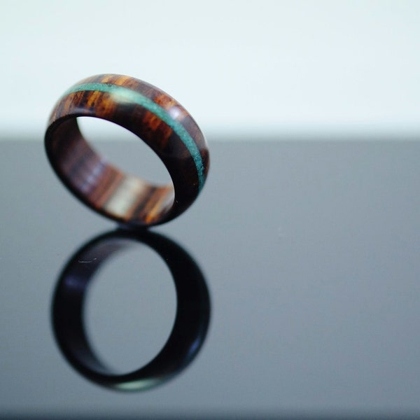 Cocobolo and turquoise wooden ring image 3