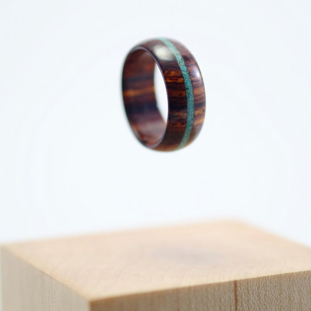 Cocobolo and turquoise wooden ring image 0