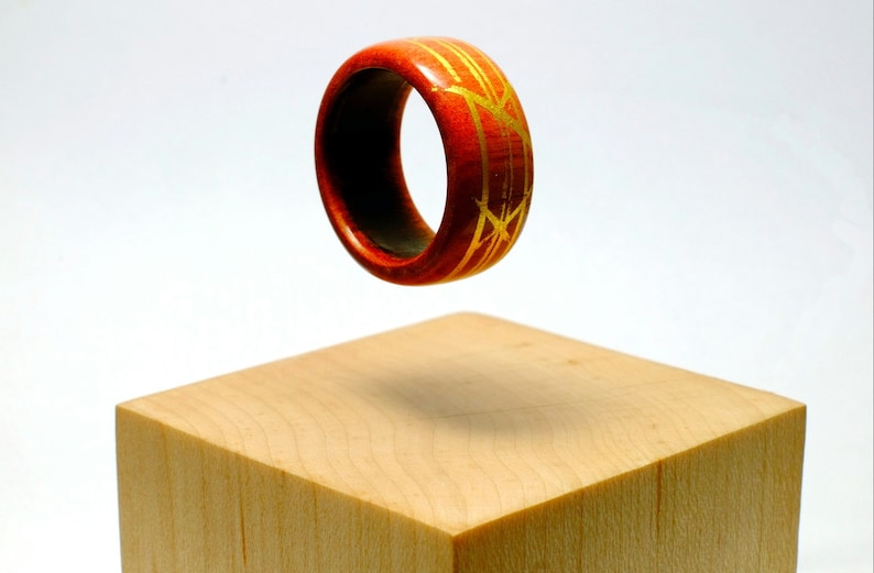 Pink ivory and gold wooden ring image 0